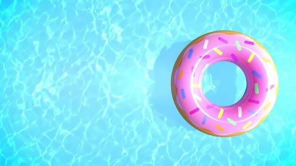 Summer Background with Donut Swim Tube
