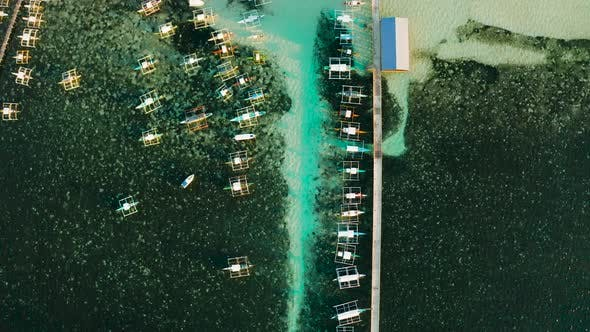 Thumbnail for Pier with Boats in the Sea, Aerial View. General Luna, Siargao Island