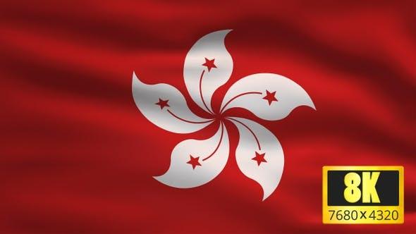 8K Hong Kong Windy Flag Background