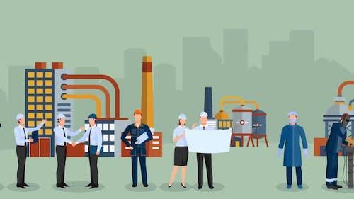 Build company caricature motion graphics 4k