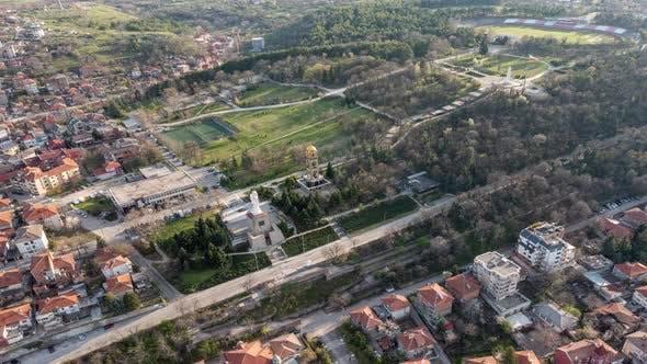 Air Hyperlapse Over The City Of Haskovo In Bulgaria