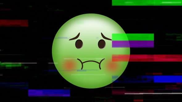 Green Nauseated face emoji