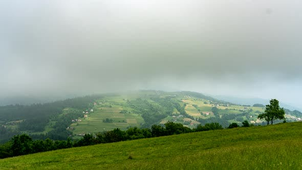 Clouded hills.