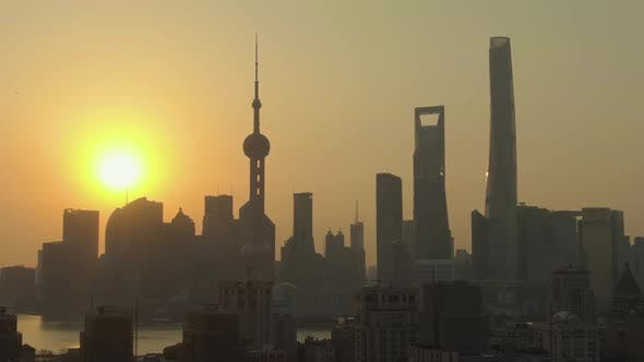 Thumbnail for Shanghai City at Sunrise. Lujiazui District. China. Aerial View