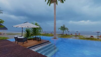 Swimming Pool In Raining Day
