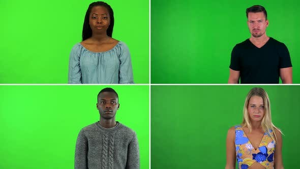 Thumbnail for Compilation (Montage) - Four People Frown at the Camera and Shake Their Heads - Green Screen