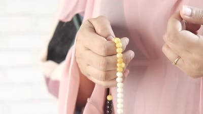 Close Up of Muslim Women Hand Praying at Ramadan