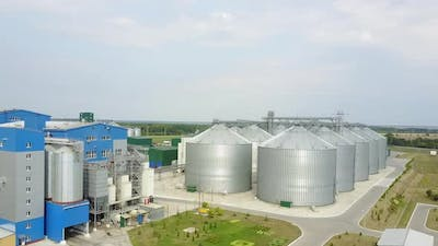 Industrial food plant. Aerial view of food plant industrial zone