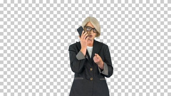 Stylish focused busy grey-haired lady, Alpha Channel
