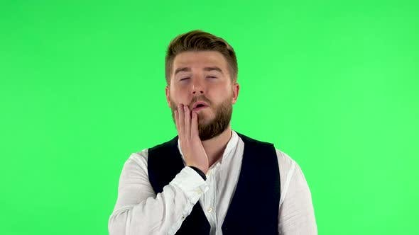 Thumbnail for Man Is Upset and Tired. Green Screen