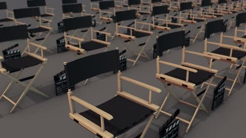 a lot of directors chair in a row 4k