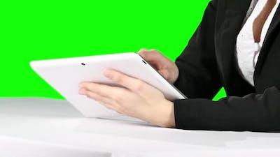 Using Laptop. Green Screen
