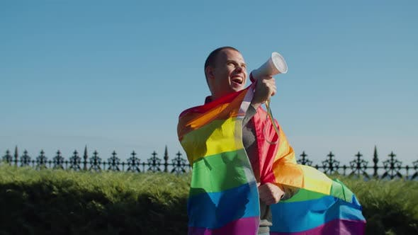 Thumbnail for Gay with Megaphone Protesting Against Discrimination