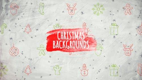 Arrière-plans de Noël - Icones dessinées à la main