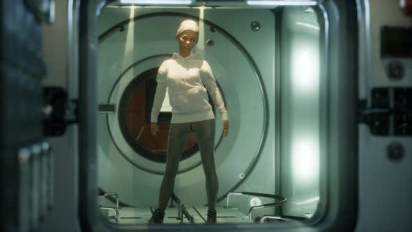 Woman Astronaut on a Futuristic Spaceship