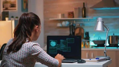 Hacker Finishing Succesfully Hacking Company System