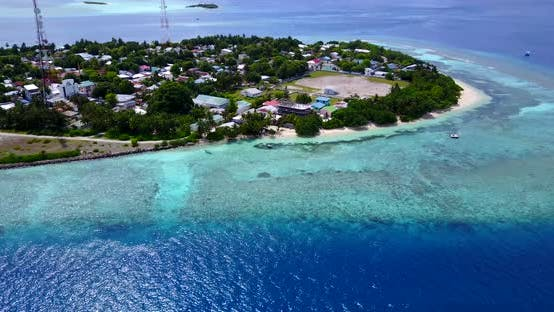 Thumbnail for Wide drone copy space shot of a sunshine white sandy paradise beach and blue sea background in hi re