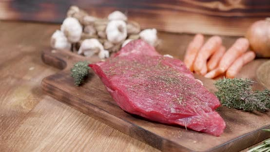 Thumbnail for Seasoned Raw Meat on Wooden Vintage Board