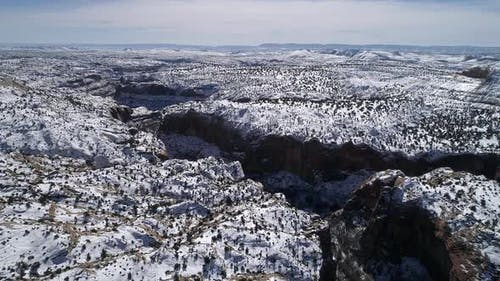 Escalante landscape covered in snow during winter