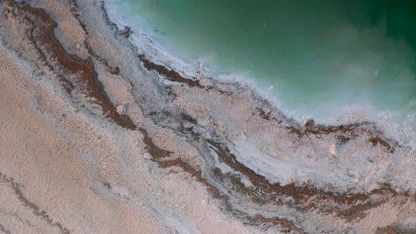 Thumbnail for Green Water of the Dead Sea, Desert Coastline, Aerial View