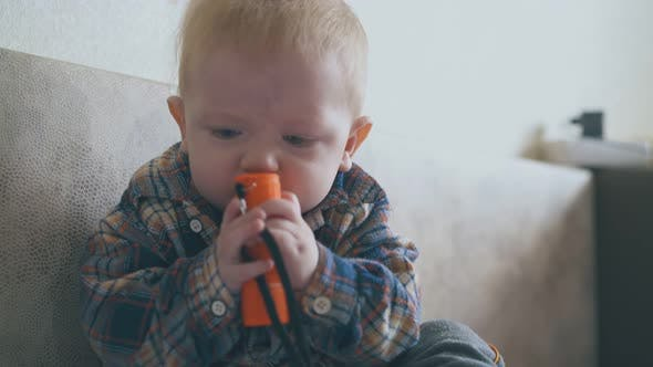 Funny Baby Nibbles Flashlight Crawling on Large Soft Bed