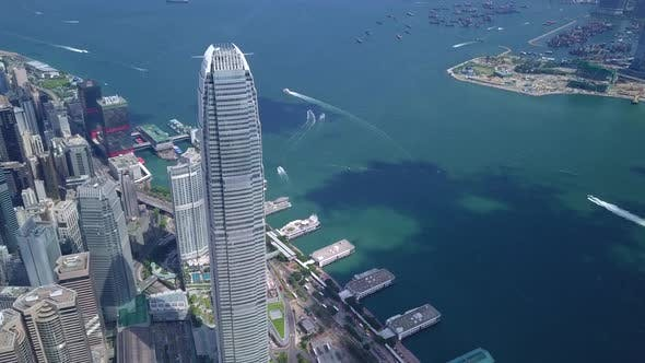 Thumbnail for Drone flying up over the Hong Kong business district