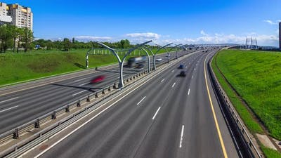 car traffic on the freeway, transport in city