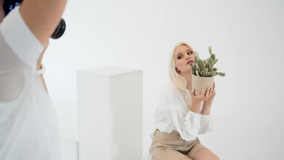 Thumbnail for Woman Posing for Photoshoot in Studio
