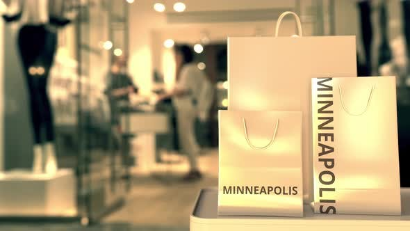 Thumbnail for Bags with Minneapolis Text. Shopping in the United States Related Conceptual 3D Animation
