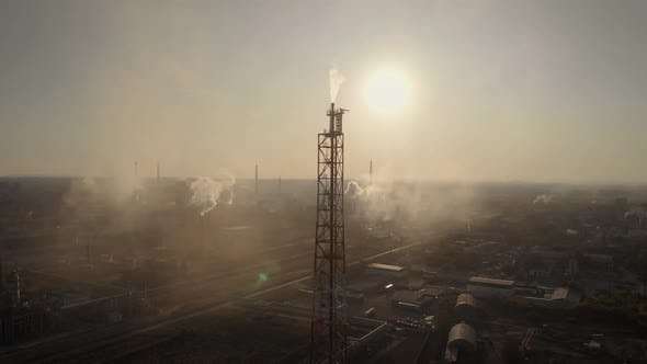 Thumbnail for Aerial View. In the Frame Is a Chemical Industrial Complex. Many Factory Chimneys Spew Smoke