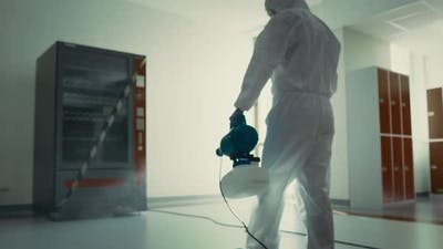 Video of sanitation worker disinfection public building during a pandemic
