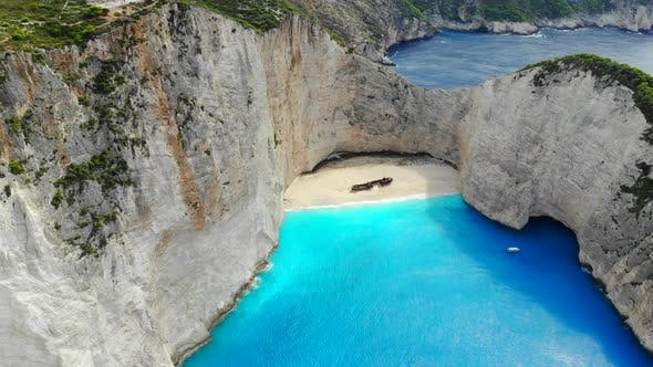 Top View Navagio Bay Shipwreck Beach Greece, Zakynthos