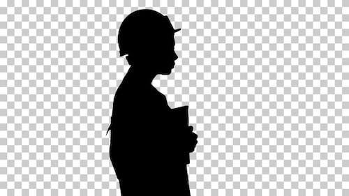 Silhouette Woman in lab coat, Alpha Channel