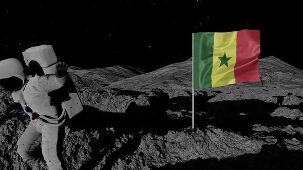 Astronaut Planting Senegal Flag on the Moon