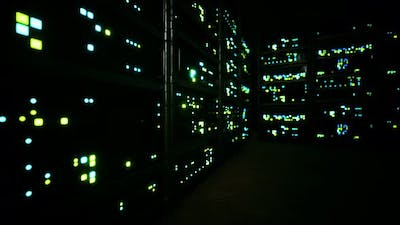 Clean Industrial Interior of a Data Server Room with Servers