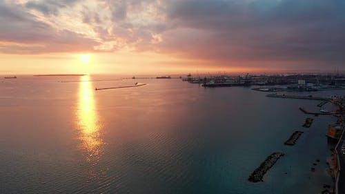 Aerial view of Taranto sea port