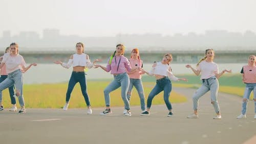 Group of Girls Dancing Hiphop in the Street