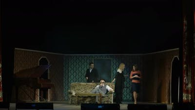 Actors Rehearsing a Scene in the Theater