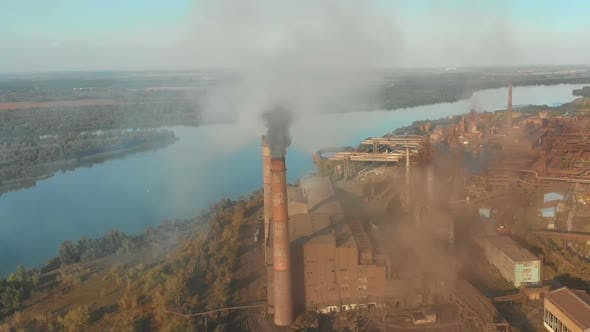 Thumbnail for Aerial View of the Industrial Plant with Smoking Pipes Near the City