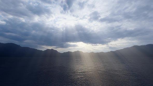 Vertical Solar Lights and Ocean