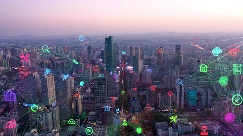 smart Connected city skyline. Futuristic network concept, city Technology.