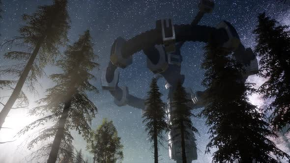 Thumbnail for UFO Hovering Over a Forest at Night