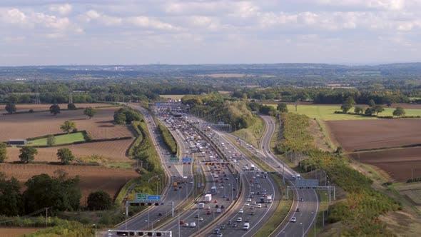 Vehicles Using a Motorway in Britain Aerial View