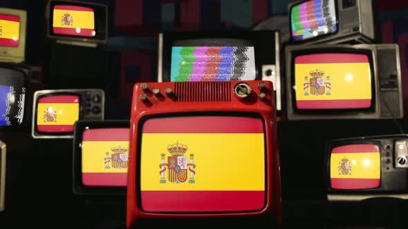 Flags of Spain and Vintage Televisions.