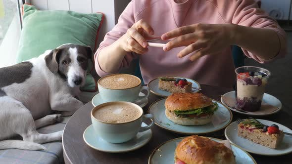 Thumbnail for Woman Taking Photo Of Food Sitting In Cafe With Her Dog.