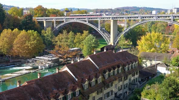 Cover Image for Kornhausbrucke, Bridge over Aara River and Old City, Bern