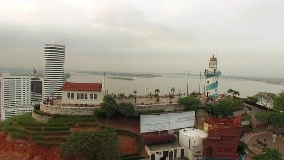 Thumbnail for Panoramic Aerial View Over Santa Ana Lighthouse at the Background of the River. Ecuador
