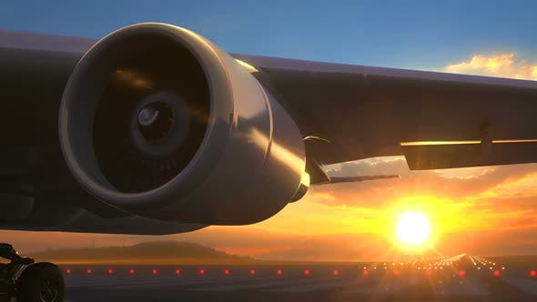 Close To Airplane Turbo Jet Engine Rotating with Visible Exhaust Seamless Loop