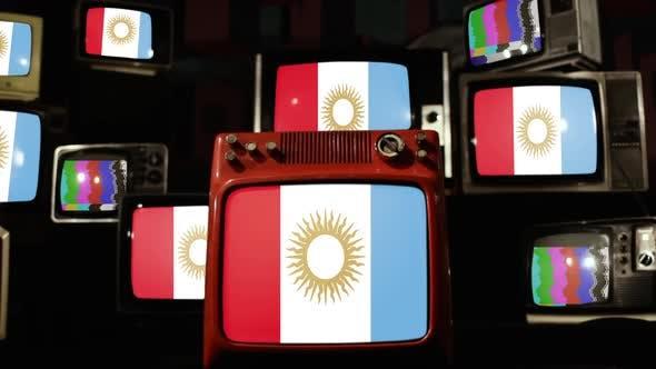 Thumbnail for Flag of Cordoba Province, Argentina, on Retro TVs.