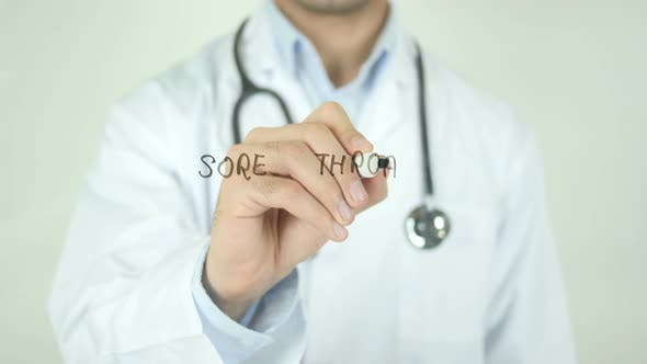 Thumbnail for Sore Throat, Doctor Writing on Transparent Screen